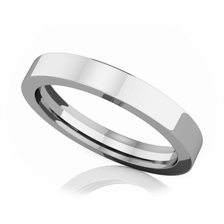 แหวนPlatinum - 3 mm Flat comfort fit classic band