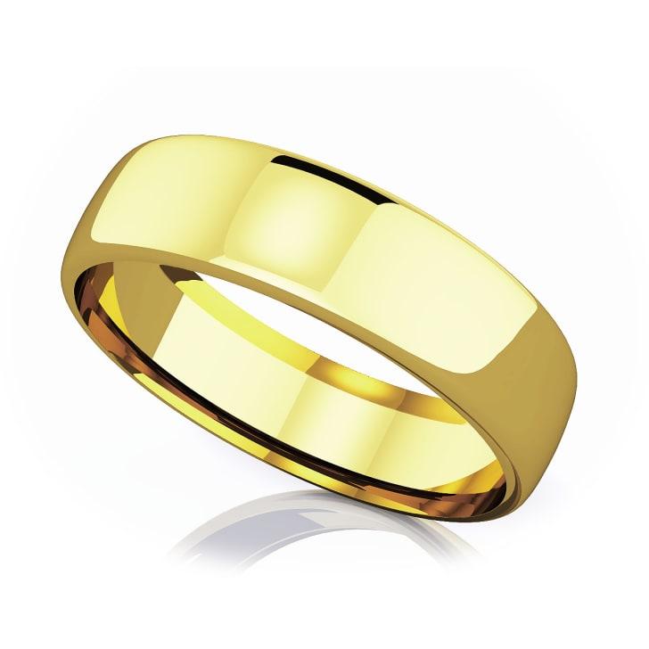 แหวนทอง - 18K 6.50 mm Domed shape romantic classic band