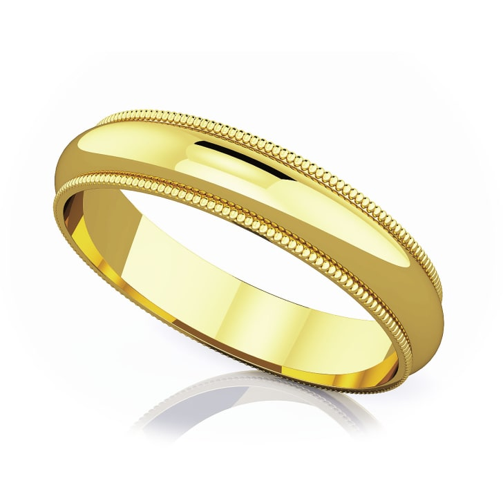 แหวนทอง - 18K 4 mm Milgrain edge romantic classic band