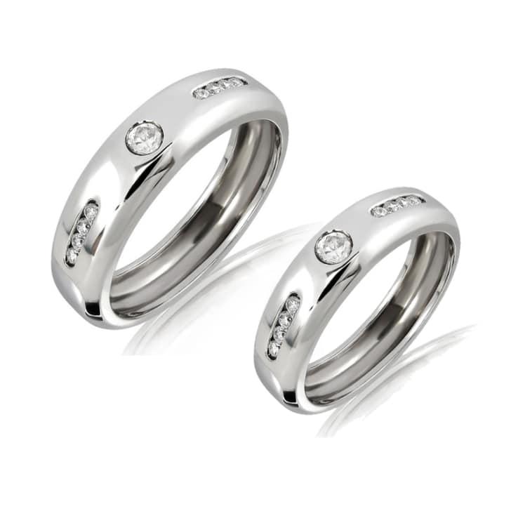 แหวนทองคู่รัก 18K ประดับเพชร น้ำหนักรวม 0.45 กะรัต ค่าสี F ค่าความสะอาด VS