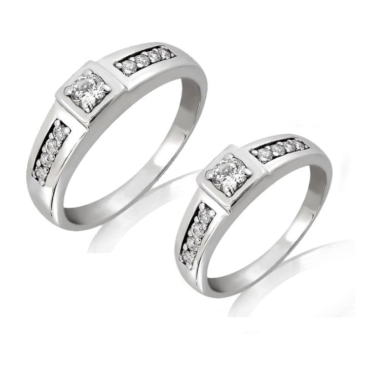 แหวนคู่รักทอง 18K ประดับเพชร น้ำหนักรวม 0.49 กะรัต ค่าสี F ค่าความสะอาด VS