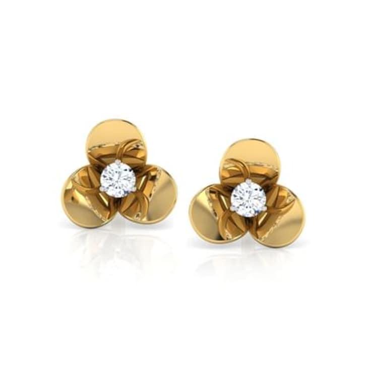 18K Gold and 0.12 carat Diamond Earrings