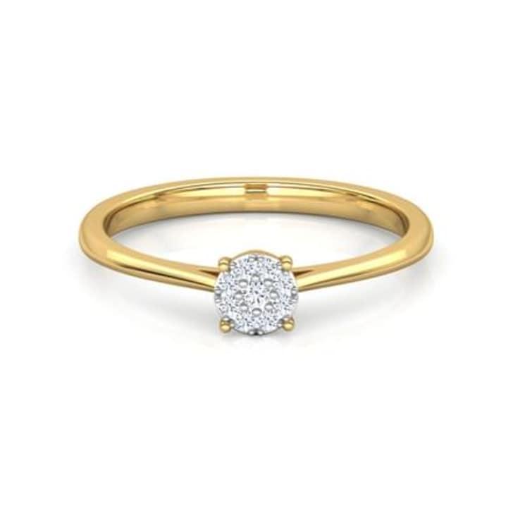 แหวนทอง 18K ประดับเพชร น้ำหนักรวม 0.06 กะรัต ค่าสี GH ค่าความสะอาด VS