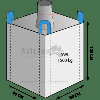 1.5 Tonne - Spout Top Closed Bottom - Bulk Bag - 95 x 95 x 160 CM