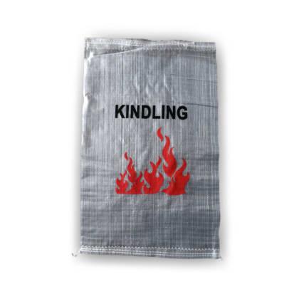Woven Polypropylene - 100 Printed Transparent Kindling Bags - 41 CM x 66 CM