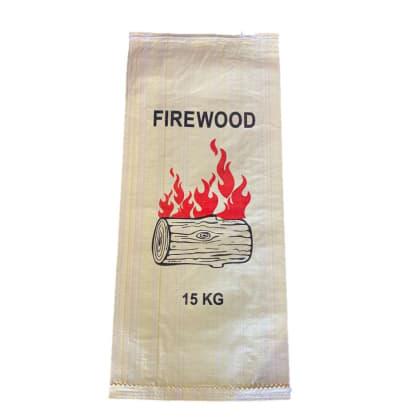 Woven Polypropylene - Printed Firewood Bag Beige - (38 CM + 12 CM) x 86 CM