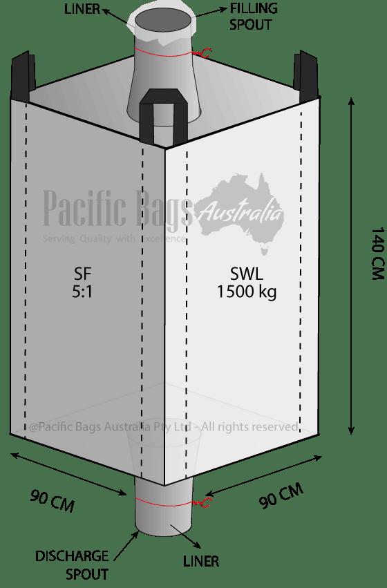 1.5 Tonne - Spout Top Spout Bottom - Liner Bulk bag - 90 x 90 x 140 cm