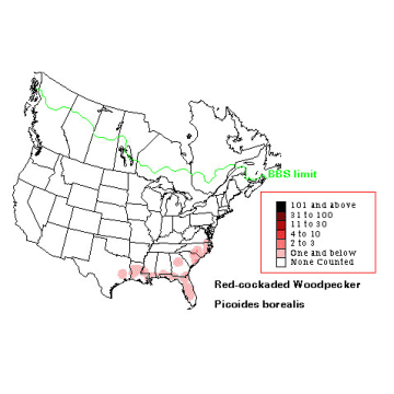 Red-cockaded Woodpecker distribution map