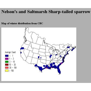 Saltmarsh Sharp-tailed Sparrow winter distribution map