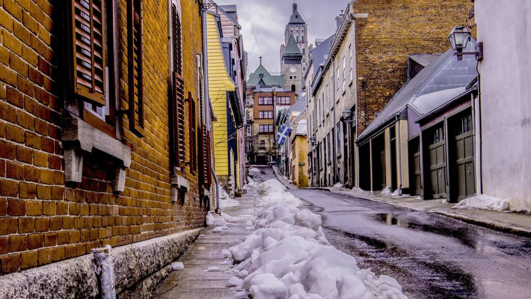 a snow covered street
