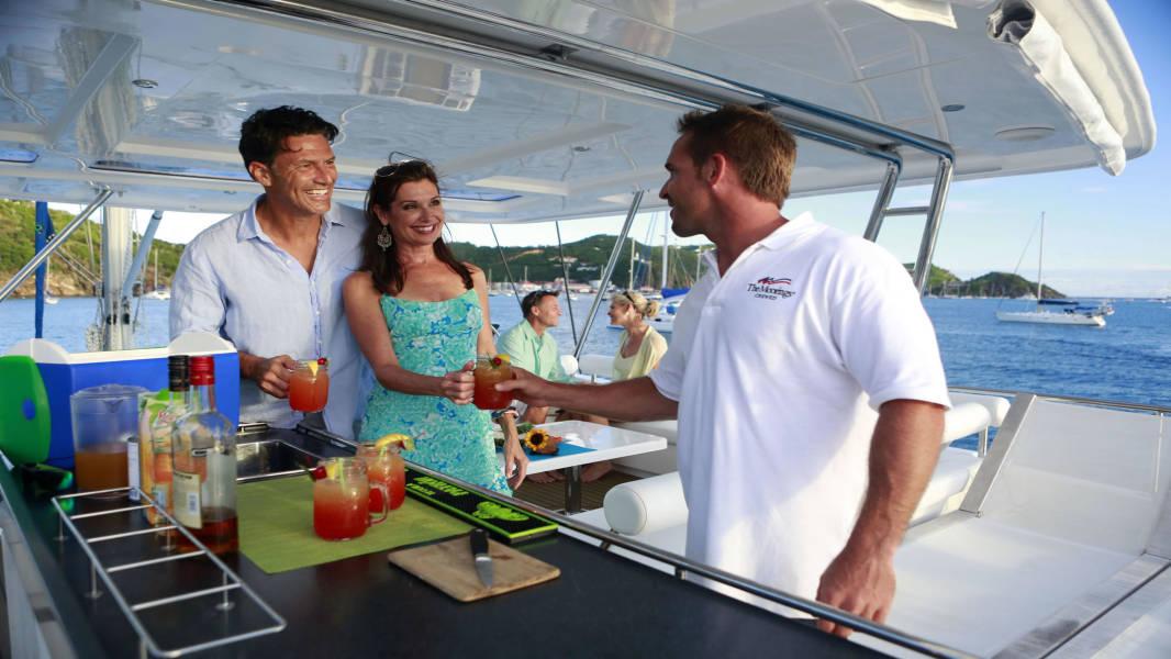 Captain's cocktail on flybridge