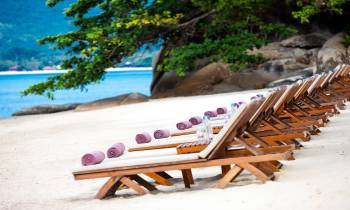 a wooden bench sitting in the sand