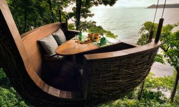 Treepod dining at Soneva Kiri