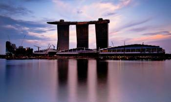 Marina Bay Sands over a body of water