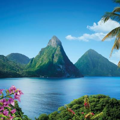 a group of palm trees next to a body of water with Pitons in the background