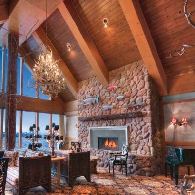 a room filled with furniture and a fire place