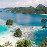 Viewpoint of the clear waters of Wayag Island, Raja Ampat district, West Papua, Indonesia, Asia