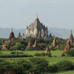 Ansicht von Bagan-Tempel und Pagoden im hellgrünen, sonnigen Tal, Burma (Myanmar), Asien