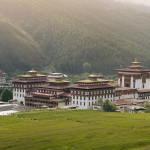 Landscape of Trashi Chhoe Dzong, at capital Thimphu, Bhutan, Asia