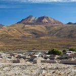 Village of Tahua in front of the Tunupa volcano, Altiplano, Bolivia South America