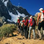 Team trekking in Cordiliera Huayhuash, Peru, South America