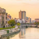 View of the atomic bomb dome in Hiroshima Japan. UNESCO World Heritage Site