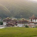Landschaft von Trashi Chhoe Dzong, in der Hauptstadt Thimphu, Bhutan, Asien