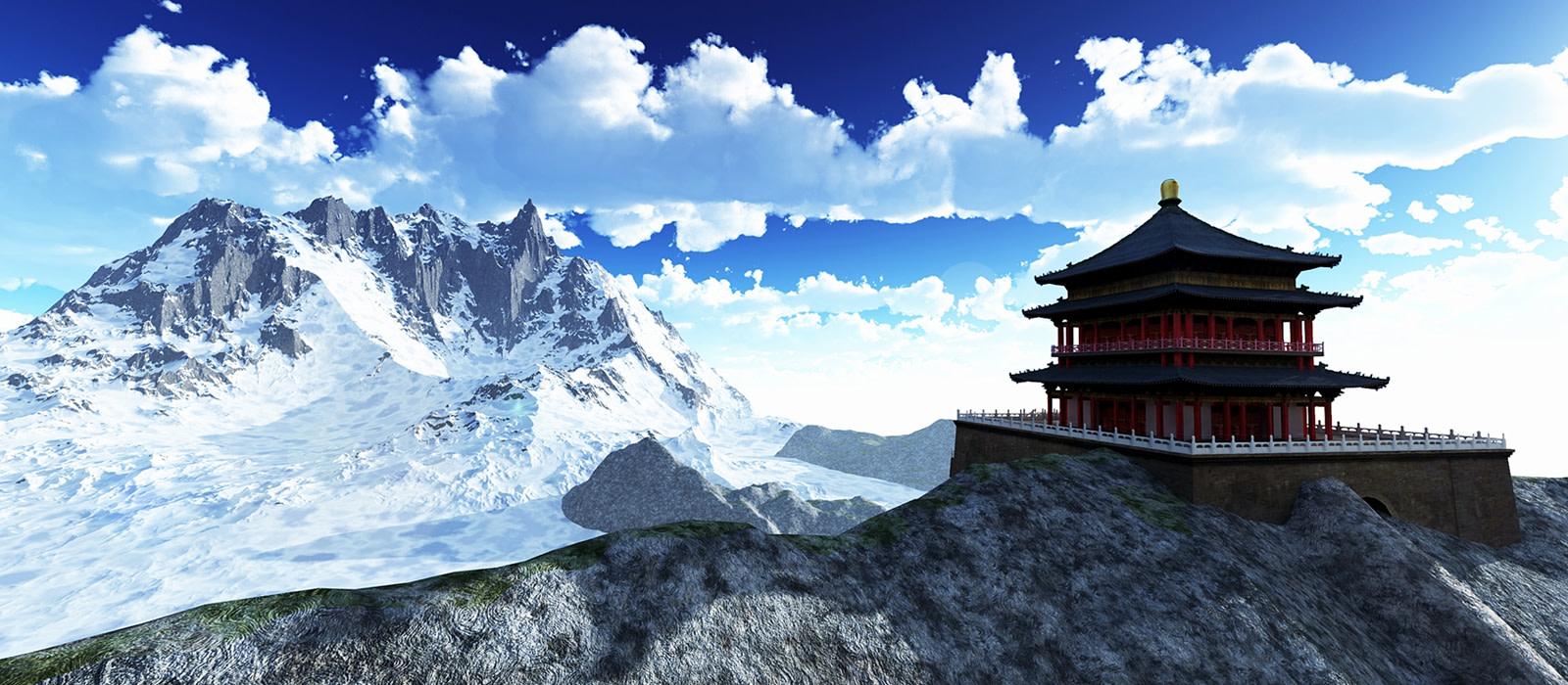 Sun temple Buddhist shrine-in-the-Himalayas-Bhutan-Asia
