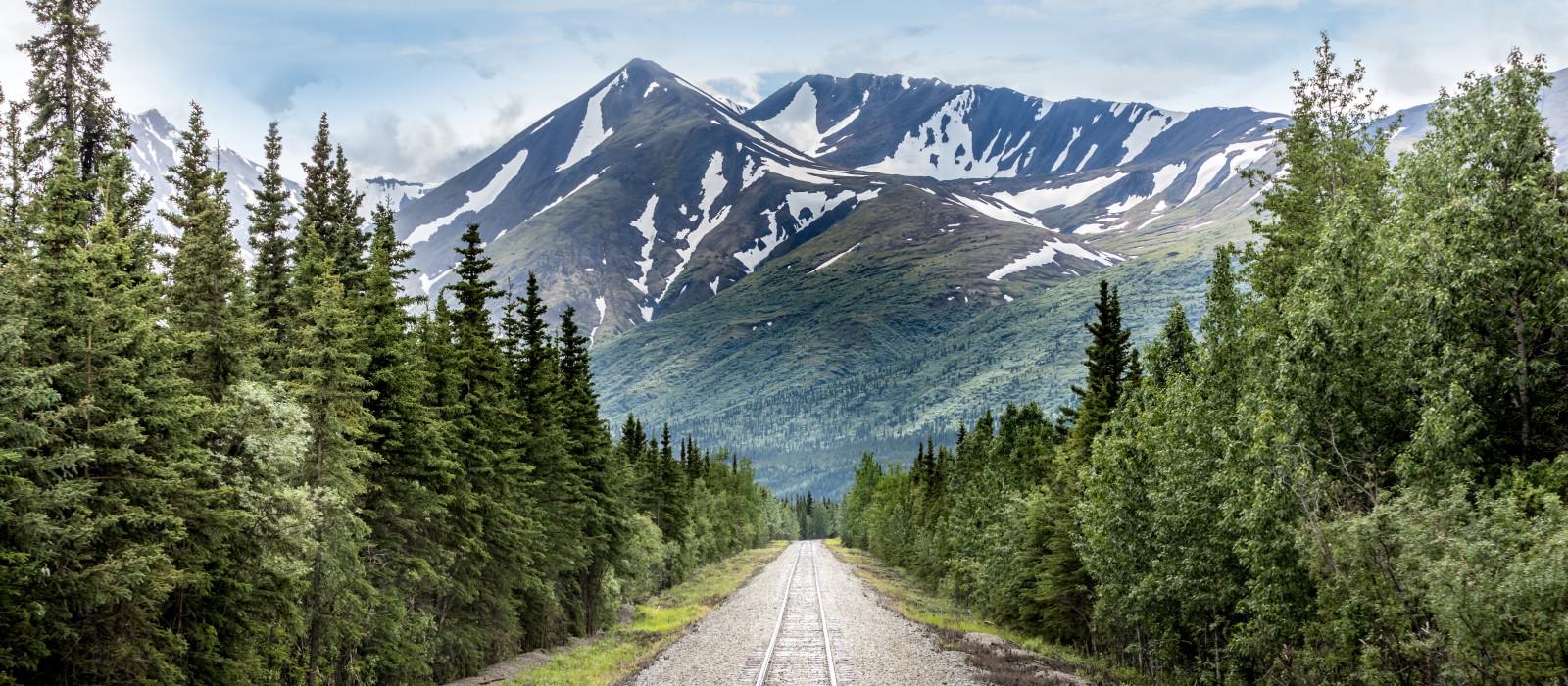 Bergkette und Eisenbahnschienen im Denali-Nationalpark Alaska