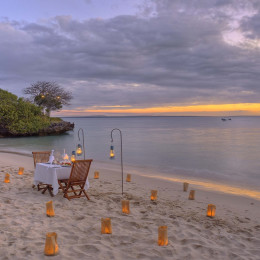 Dinner at the beach at Azura at Quilalea Lodge in Quirimbas, Mozambique