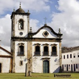 Streets and church of historical center in Paraty, Rio de Janeiro, Brazil, South America