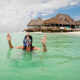 Snorkeling in the Indian Ocean at Zanzibar