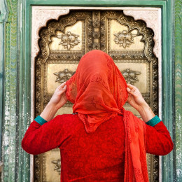Women with red scarf in North India