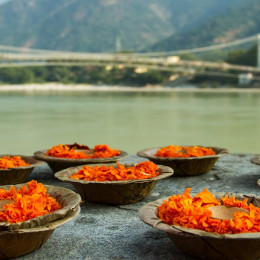 Enchanting Travels India Tours Puja flowers offering for the Ganges river in Rishikesh, India