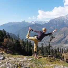 Dutch Women yoga posing, Himalayas, Manali Rohtang, India