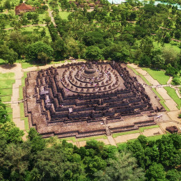 Aerial view of Borobudur temple Central Java Indonesia, Asia