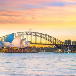 Downtown Sydney skyline, Australia at twilight