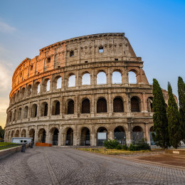 Rome Italy sunrise city skyline at Colosseum Coliseum, Europe Tours - Summer is the best time to visit Europe