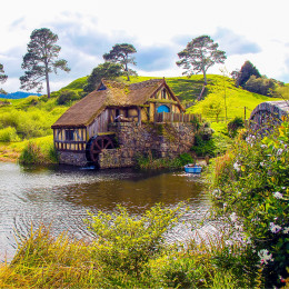 Watermill in Hobbiton Shire, New Zealand