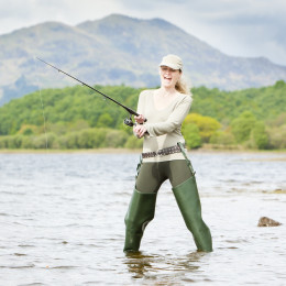 Enchanting Travels UK & Ireland Tours fishing woman, Loch Venachar, Trossachs, Scotland