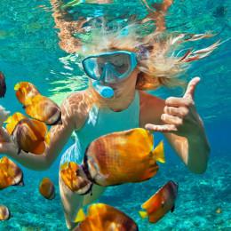 Frau schnorchelt unter Wasser und schwimmt mit bunten Fischen