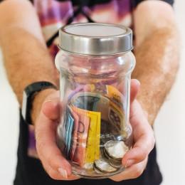 Australian currency inside Jar