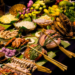 Closeup View of Exotic Night Market Street Food, China, Asia
