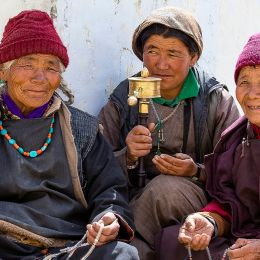 North India travel guide Enchanting Travels India Tours Leh Unidentified buddhist old people during mystical mask dancing Tsam mystery dance in time of Yuru Kabgyat Buddhist festival at Lamayuru Gompa
