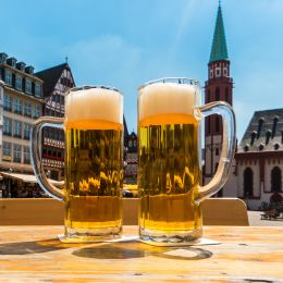 Enchanting Travels Germany Tours beer garden in frankfurt City, at the Romerberg square
