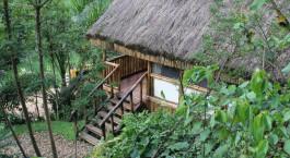 Entrance of Buhoma Lodge in Bwindi, Uganda