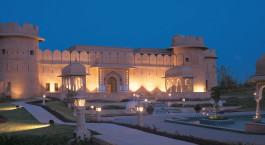 Exterior view at night at hotel The Oberoi Rajvilas in Jaipur, North India