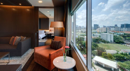 Room view at hotel Pathumwan Princess Hotel in Bangkok, Thailand