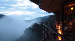 Terrace view at hotel Hakone Ginyu Spa Resort in Hakone, Japan