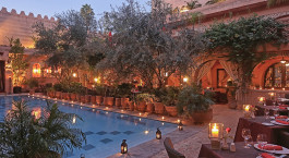 Outdoor dining at La Maison Arabe Hotel in Marrakech, Morocco